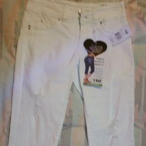 YMI Jeans White Mid Rise Crop Capris 7/8 Juniors